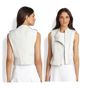 •Theory 'Tatia' lamb skin moto leather vest•